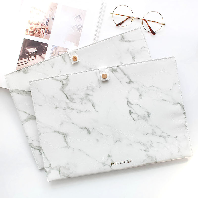 High Quality Portable Marble File Folder A4 Document Bag Examination Paper Organizer Case Expanding Files WJD08