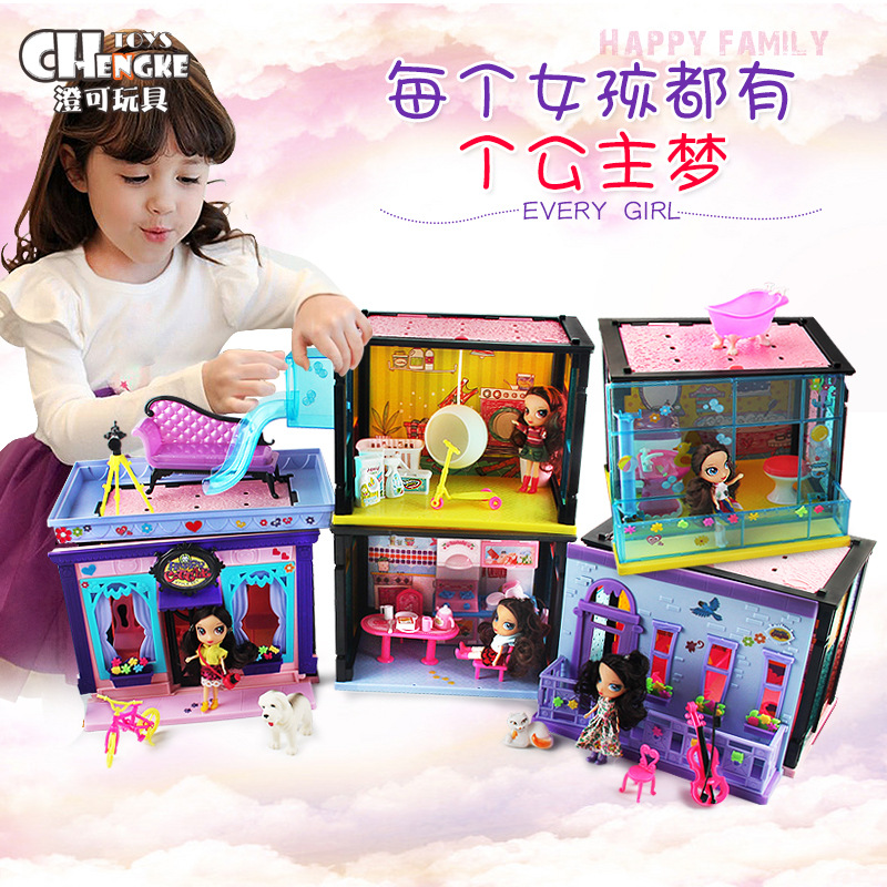 BDCOLE Fashion Colorful Plastic Apartment Villa Dollhouse Accessories Toy Girl Birthday Gift cool and fashion toy vehicles plastic mold