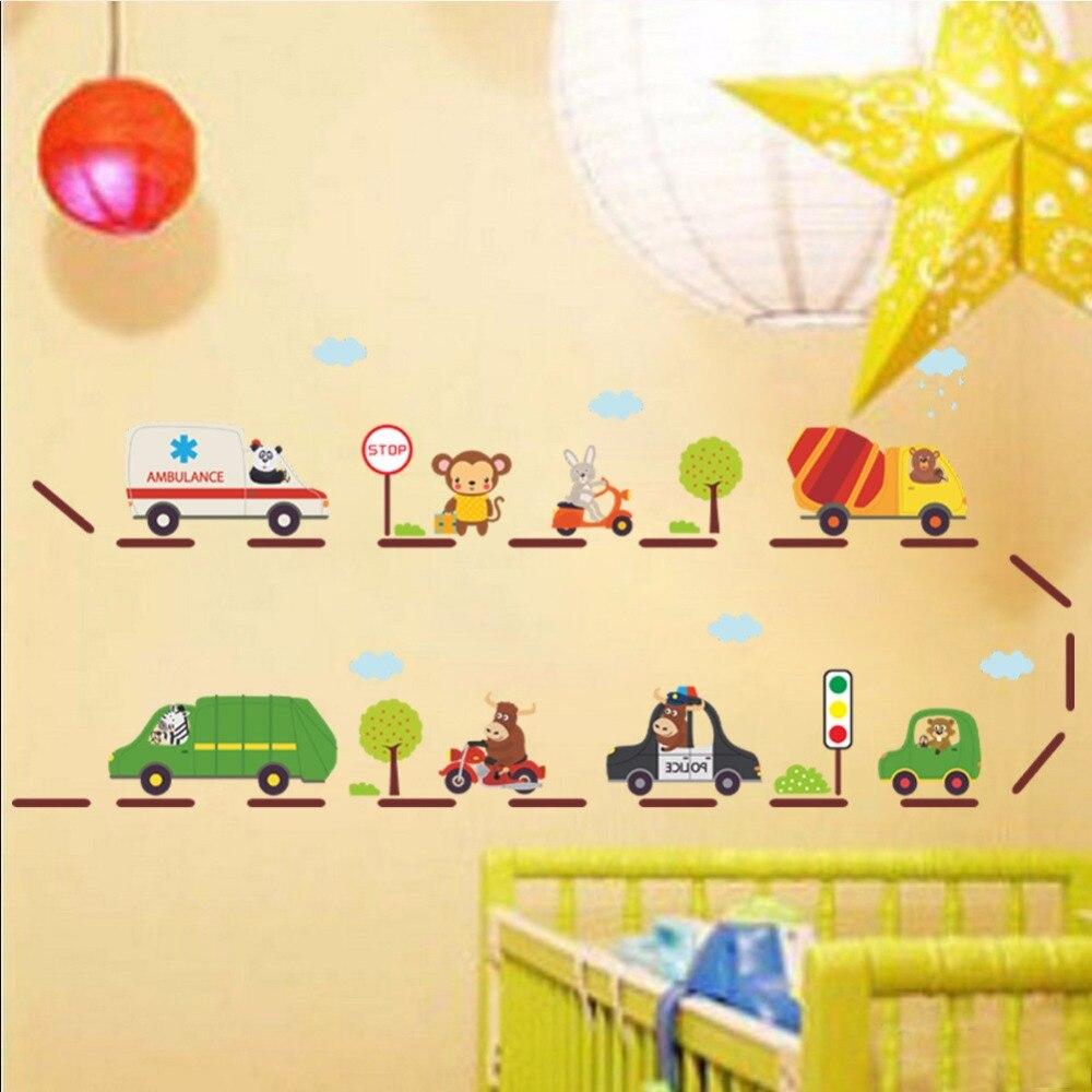 Cartoon Ambulance Fire Fight Truck Bus Drum Mixer High Way Traffic Light Tree Wall Stickers Kids Room Nursery Wall Decor Graphic