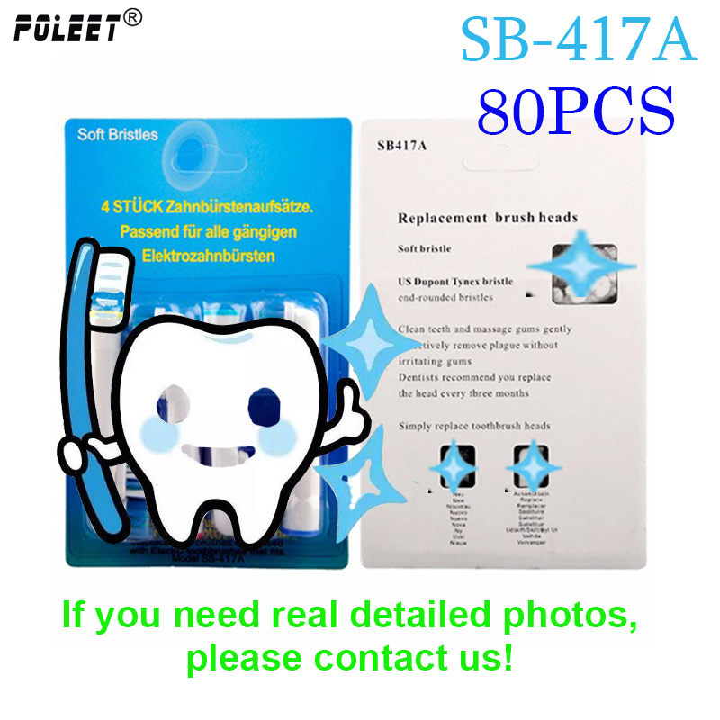 Poleet 80PCS Electric Toothbrush Replacement Heads SB417A For Oral Bi Toothbrush Heads SB 417A Oral Hygiene