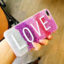 Super Fashion Love Flash Powder Cover Soft TPU Silicone Case For Apple iPhone 6 6S 6 Plus 7 7 Plus i6 i7 i 6 7 iphne Funda Coque