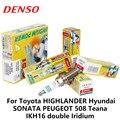 4 шт./компл. лентам кампании DENSO свечи зажигания автомобиля для Toyota Highlander hyundai Sonata peugeot 508 Teana Dodge Chrysler двойной Иридиевый IKH16