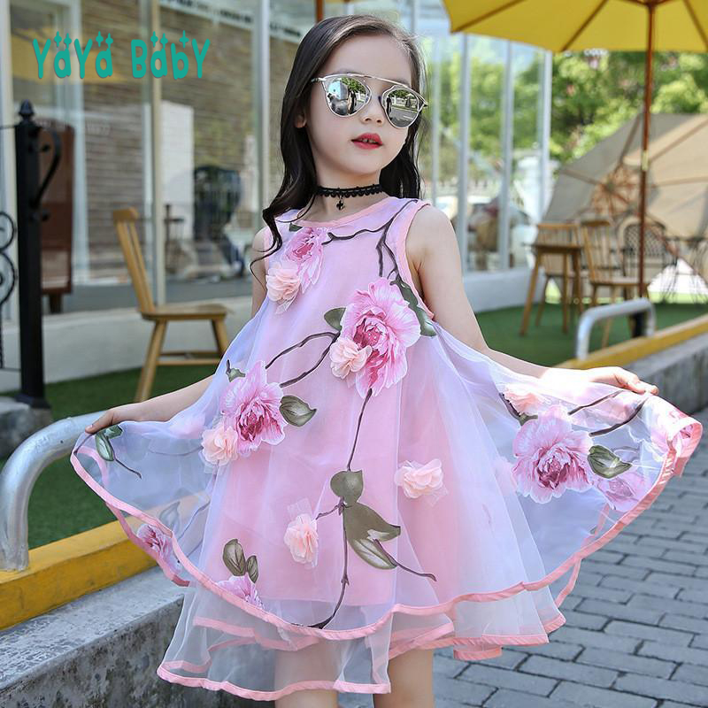 цены Flower Girls Dress Summer Style Toddlers Teen Children Princess Clothing Fashion Kids Party Clothes Sleeveless Dresses for Girls