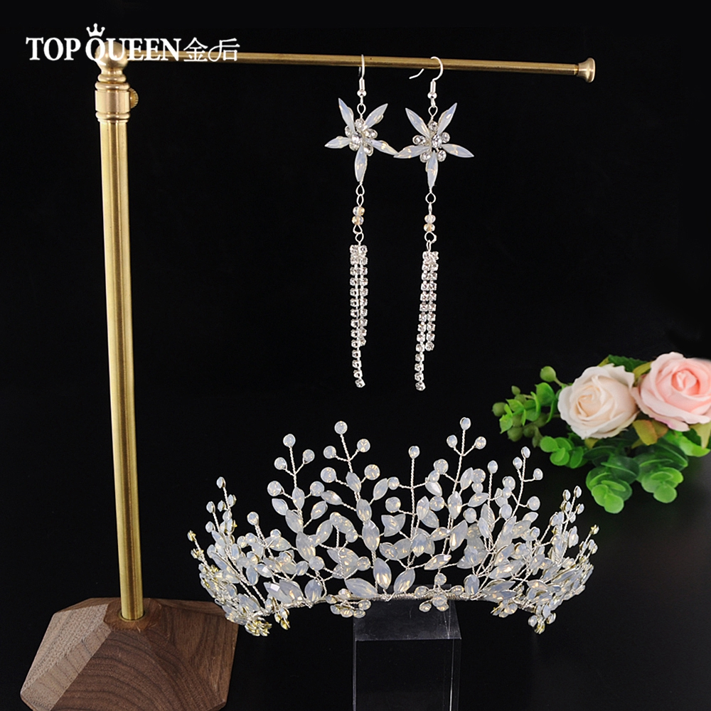 TOPQUEEN HP200 Bridal Tiara Crystal Wedding Tiara And Crown Crystal Bride Hair Jewelry Handmade Wedding Hair Accessories