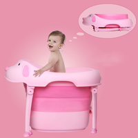 2019 Fashion Baby Folding Cartoon Children Bath Tub Security Folding Baby Shower Bathtub Cartoon Dogs Foldable Children Bathtub