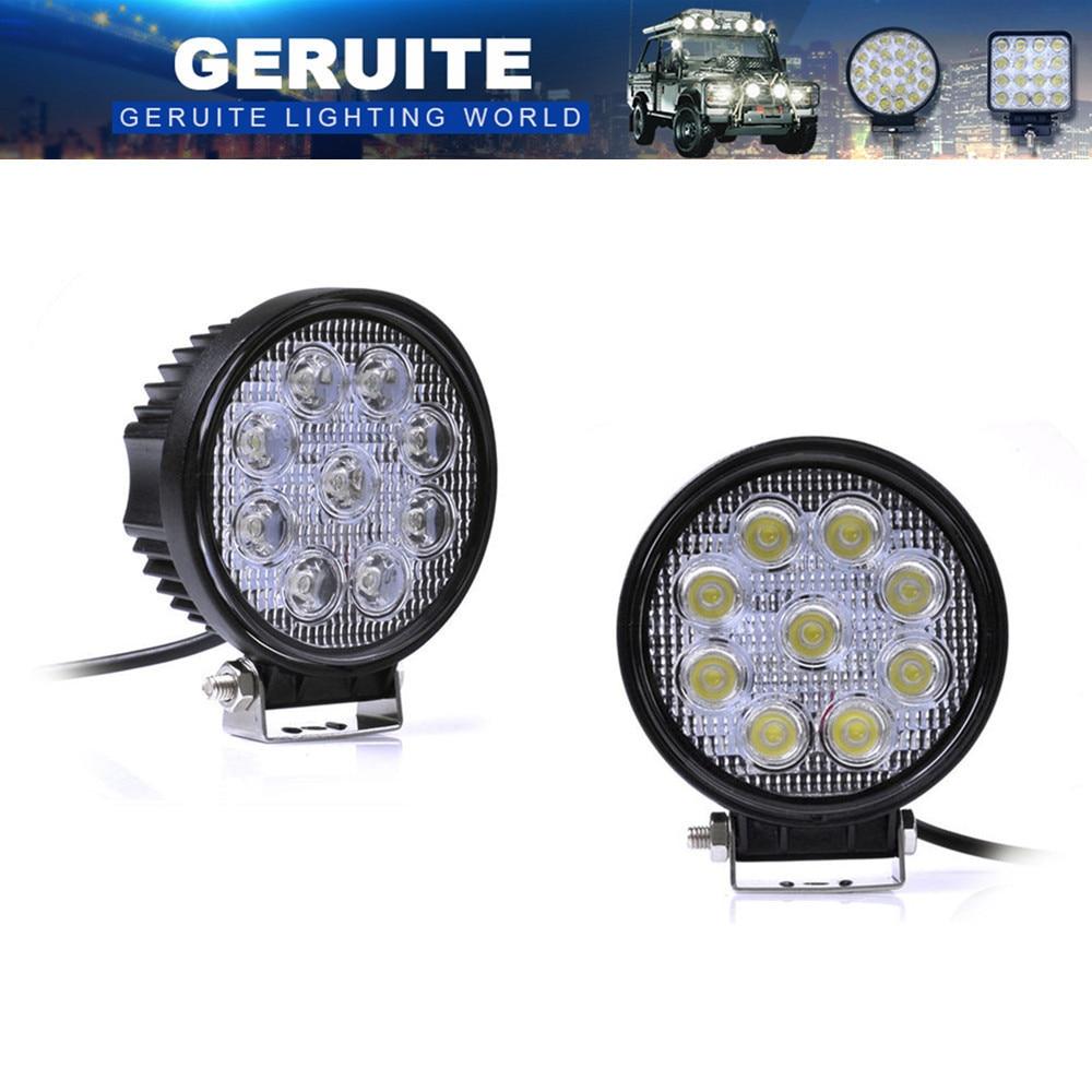 10st 27W LED-arbetslampa 30 grader High Power LED Offroad Light Round Off Road LED-arbete Light Spot Light för båt jakt