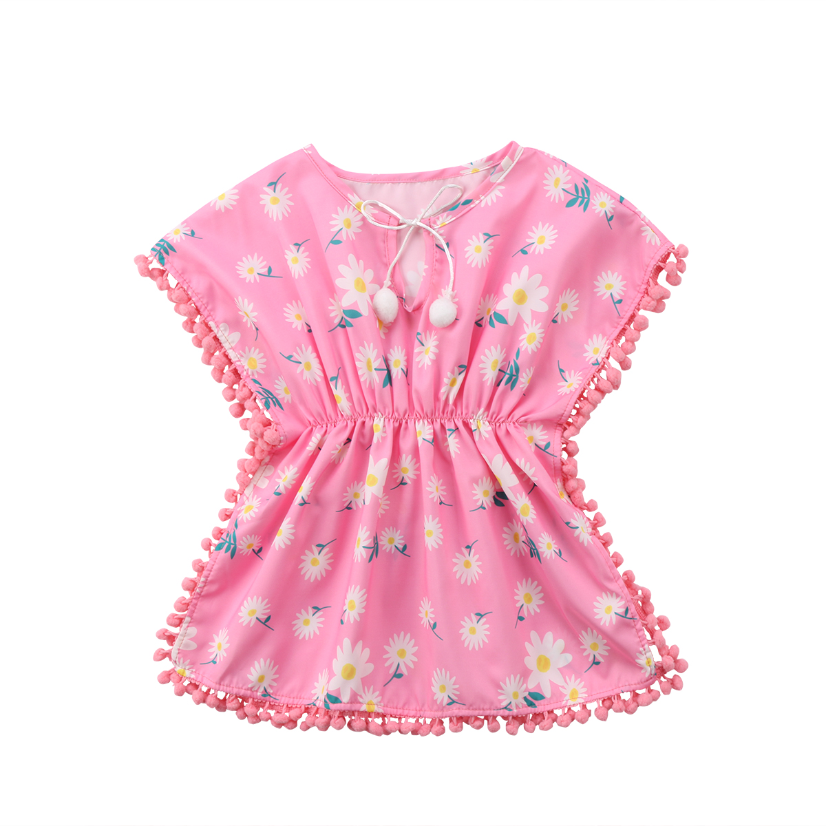 Toddler Kids Girls Floral Retro Pom Pom Shirt Dress Bowknot Party Cute Clothing