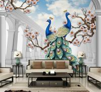 Chinese style 3d Custom Wallpaper Living Room Stereo Backdrop Peacock Relief Bedroom Wallpaper