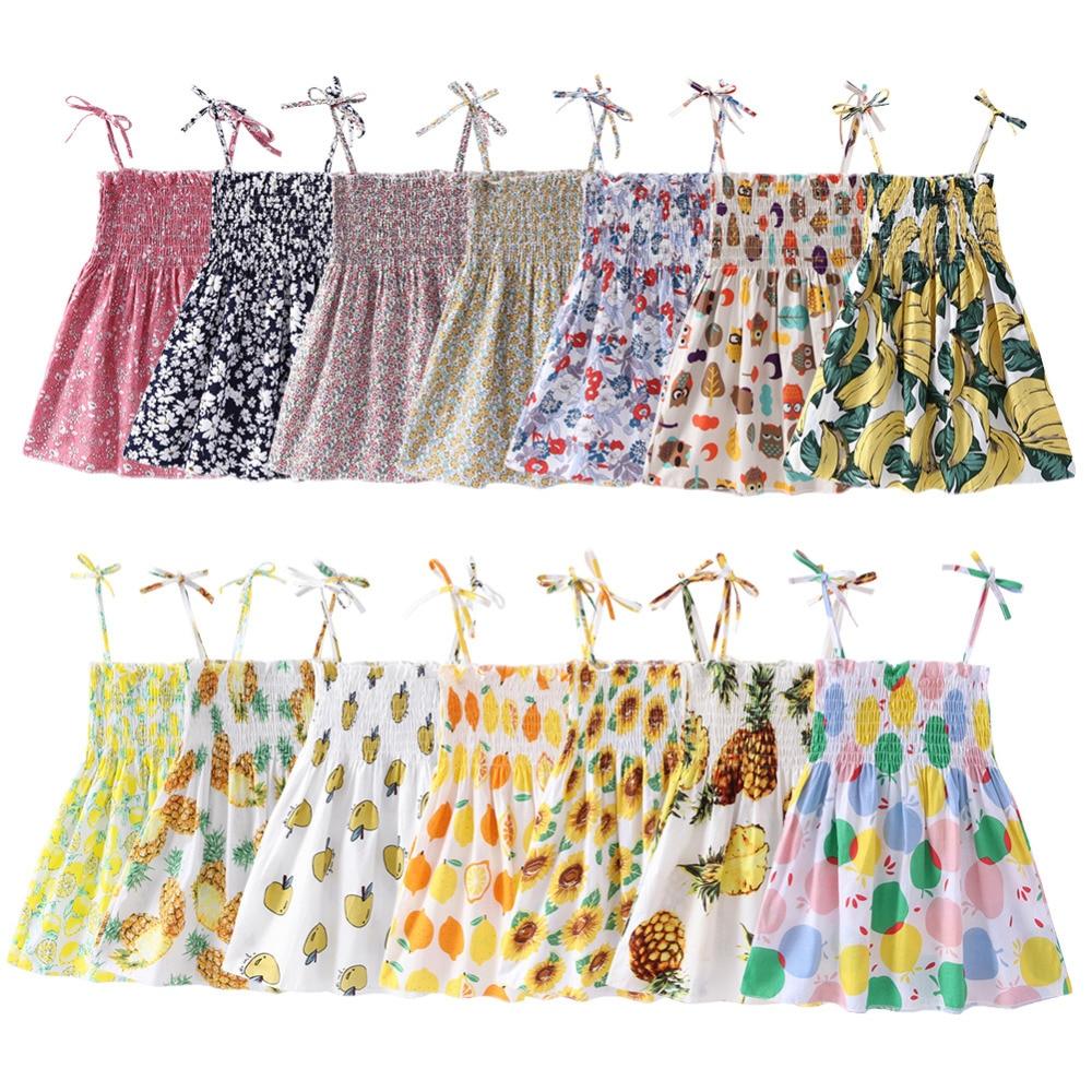 Dresses Mother & Kids Kids Girls Dress Flower Summer Children Clothing Floral Princess Dresses For Girl Vestidos Blue Pink Fashion Clothes Beach Dress