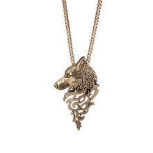 2019 New Fashion Punk Vintage Wolf Pendant Necklace Women Men Gold Metal Head Necklaces Pendants Animal Jewelry Gift WD164