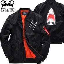 2017 New Coat Parka Air Force Ma-1 Aviator Shark Print Jacket Thicken Casual Plus Size 6XL Cotton Padded Windbreaker Winter Coat