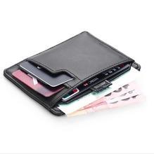 Moderne Luxus Marke Neue 100% Kuh Echtes Leder 0,38 cm Super Slim Männer Brieftaschen Kartenhalter Geldbeutelorganisator Berühmte Designer
