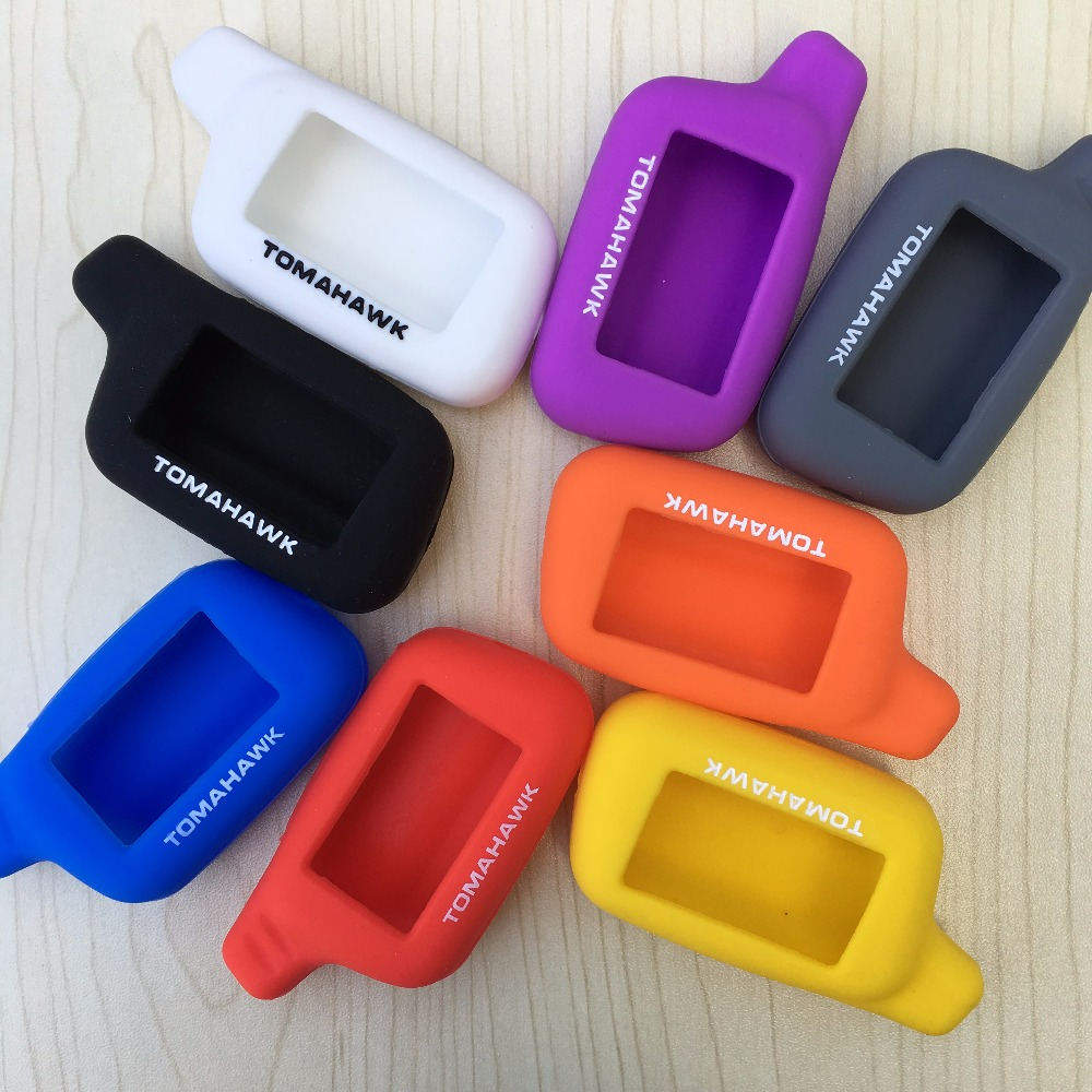 8 colors Silicone Case Key Case Cover for Russian Version 2 Way Car Alarm LCD Remote