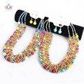 Collar de perlas de la joyería tradicional africano colorido collares pendiente de áfrica joyería de la boda establece mujeres WYA167