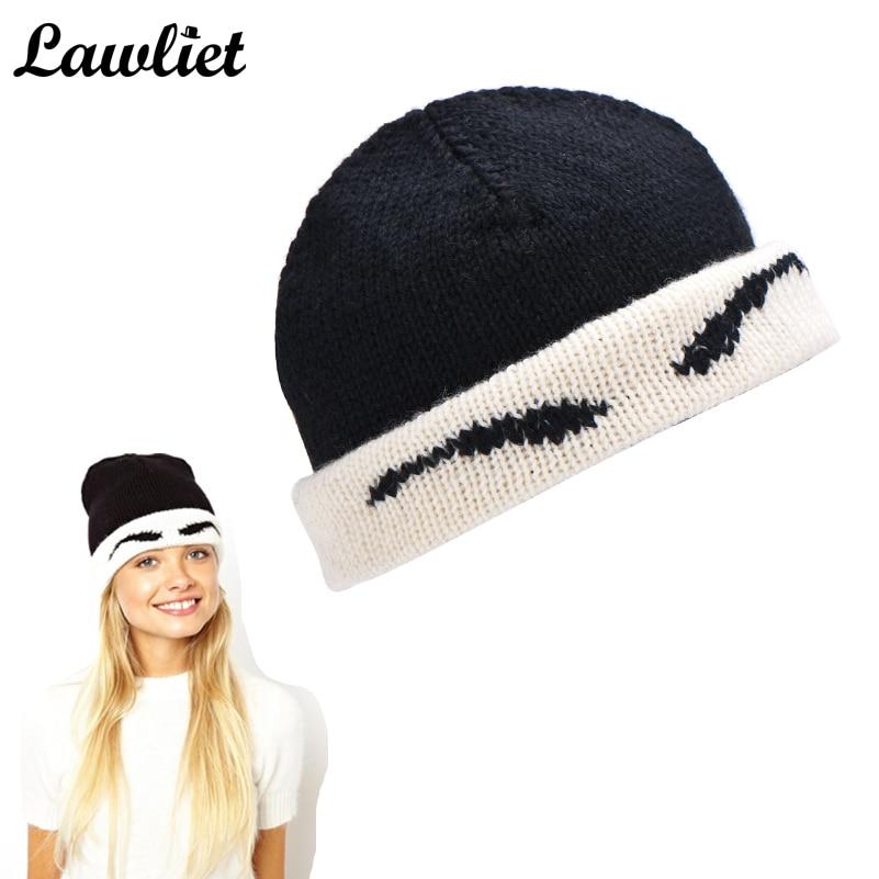 Women Knitted Hat Wool Cotton Beanies Hat Cap Handmade Autumn Winter Cute Black Eyebrow Warm Hat Skullies Ski Cap Bonnet 2017 van laack топ без рукавов