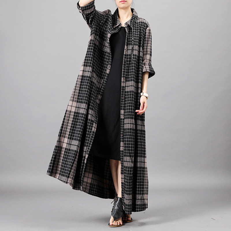 Johnature Women Black Plaid Dress Button Turn down Collar Long Sleeve 2019 Spring New Vintage Shirt