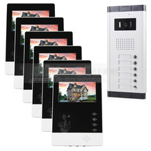DIYSECUR 4.3 pulgadas De $ number Hilos Apartamento Videoportero Audio Visual Intercom Sistema de Entrada de la Cámara de INFRARROJOS para 6 Familias