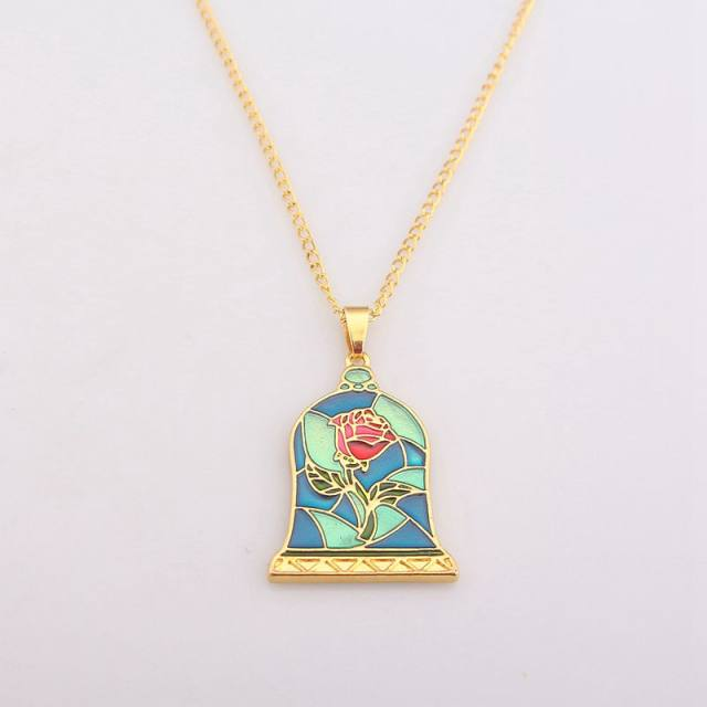 online shop anime movie beauty and the beast necklaces pendants