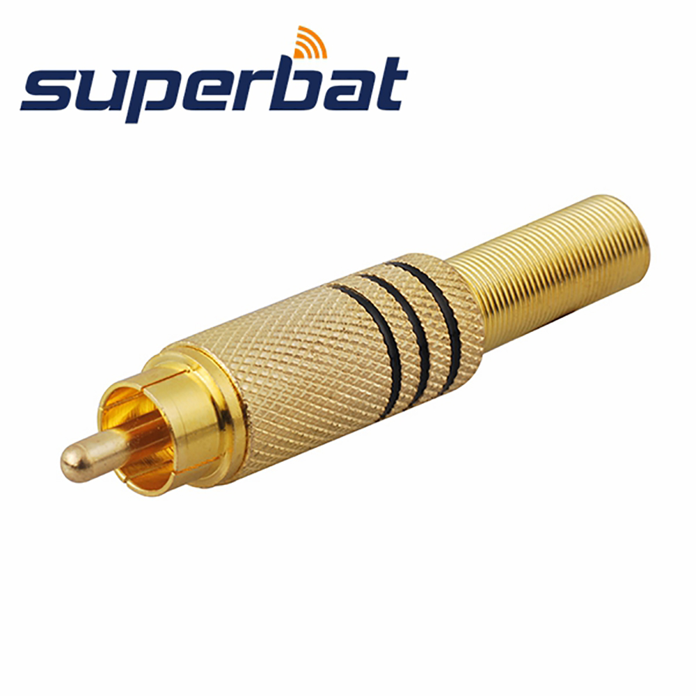 Superbat 3.5mm-RCA straight plug male pin crimp connector Yellow for the cable RG59 new
