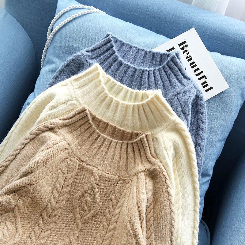 long sweaters women 2019 new loose knitted women thicken warm pullovers solid twisted lady elegant outwear tops 3