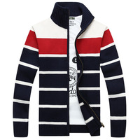 2019 Winter Men Sweater Casual Classic Stand Collar Stripe Cotton Material Christmas Warm Patchwork Cardigan Male Zipper Sweater