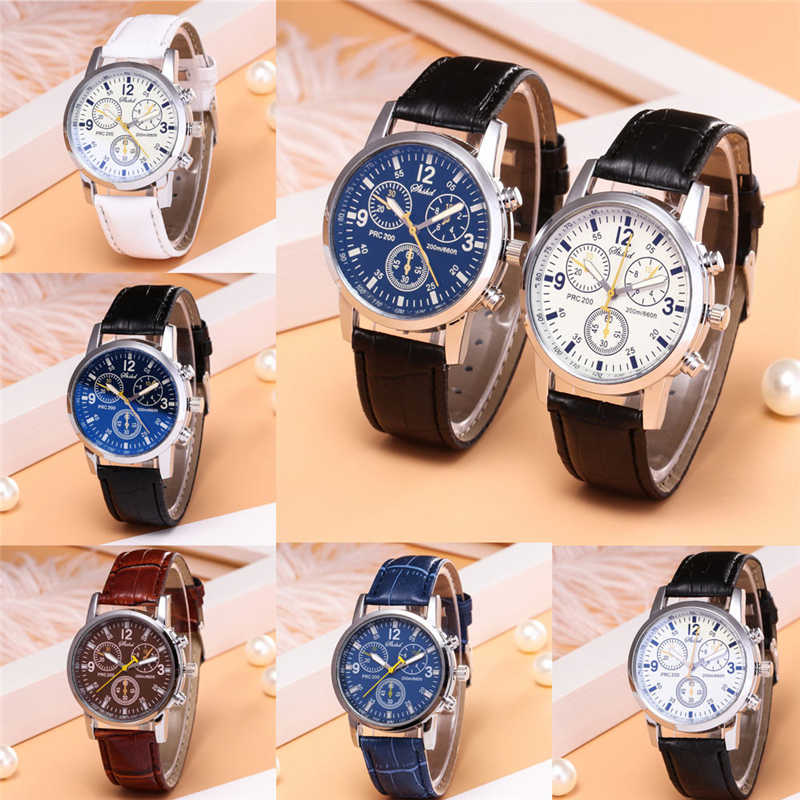 Blue-ray Glass Watch Men Luxury Neutral Quartz Simulates Wrist Epidermal Leather Strap Watch #4d26