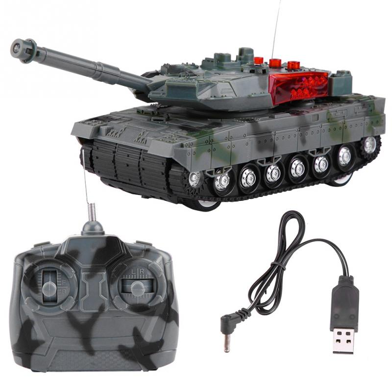 Electric RC Tank 4 Channels Remote Control High Simulation Battle Tank Model Toys For Boys Children Christmas Gift