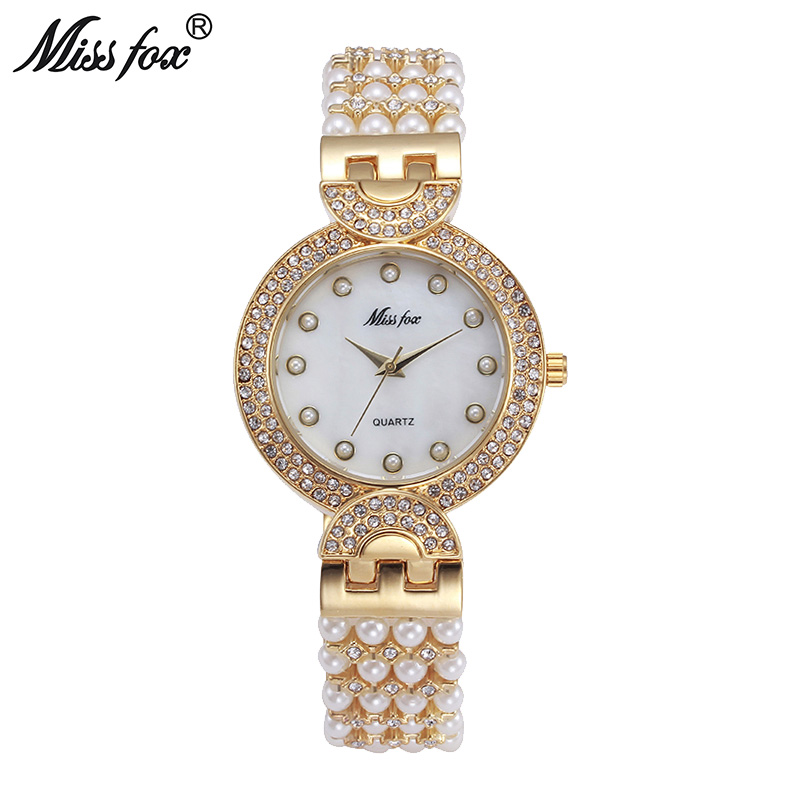 Miss fox beauriful nature pearl watch women rhinestone women dress watch fashion pearl shell for Pearl watches