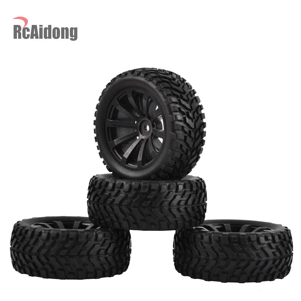 4PCS 1/10 RC Rally Car Grain Rubber Tires Off-road Tires and Wheels for Traxxas Tamiya HSP HPI Kyosho RC On Road Car(China)