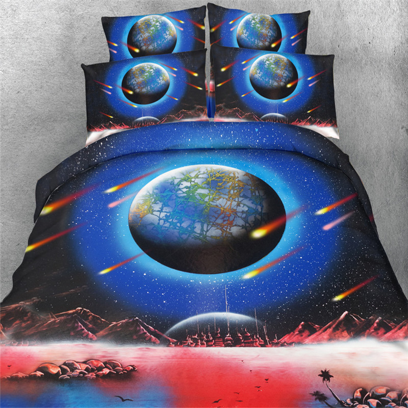 Free Shipping 4pcs 3d Planet/falling Star/meteor/shooting Star Bedding Set Without Filling Twin/full/queen/king/super King Size Bedding