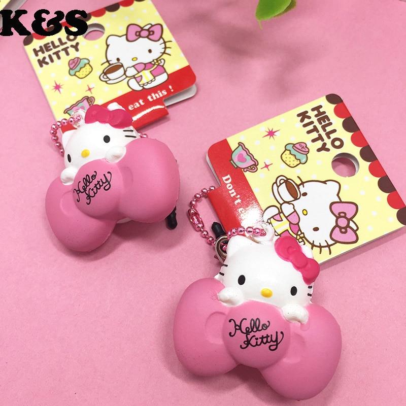 귀여운 헬로 키티 희귀 Squishy 5PCS / Lot 미니 Kawaii 핑크 활 키티 인형 달콤한 모바일 휴대 전화의 매력과 먼지 플러그 # 328