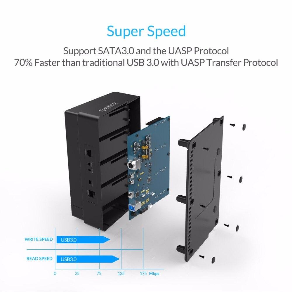 ORICO 6648US3 C USB 3,0 de 2,5 y 3,5 pulgadas SATA disco duro externo muelle 4 Bay fuera de línea clon Hdd estación de acoplamiento Negro - 3