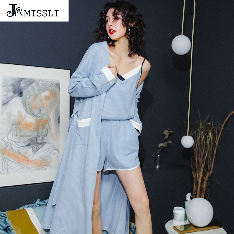 JRMISSLI Women   Pajamas     Sets   100% Cotton Autumn Rose Print 3 Piece   sets     Pajama     Set   Sleepwear Big size M-XL Home Clothing