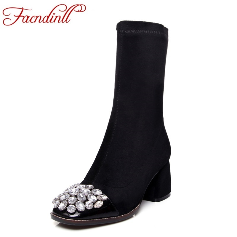 FACNDINLL new autumn winter women boots genuine leather shoes woman ankle boots black rhinestone fashion long boots for women