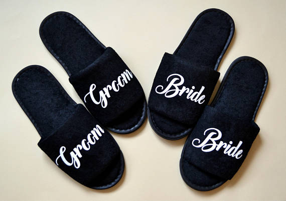 993b35dd1 personalize title black Wedding Bride Groom bestman Bridesmaid maid of  honor Slippers Bachelorette Spa Slippers party favors-in Party Favors from  Home ...