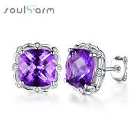 4ct Amethyst Real Silver Earrings For Women Romantic And Elegant Square Gemstone 925 Sterling Silver Earrings