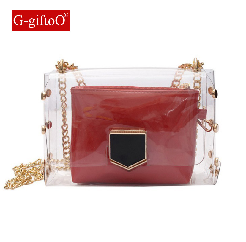 The new summer 2017, Japan and South Korea leisure jelly hand steamed stuffed bun female bag chain shoulder bag transparent bags ...