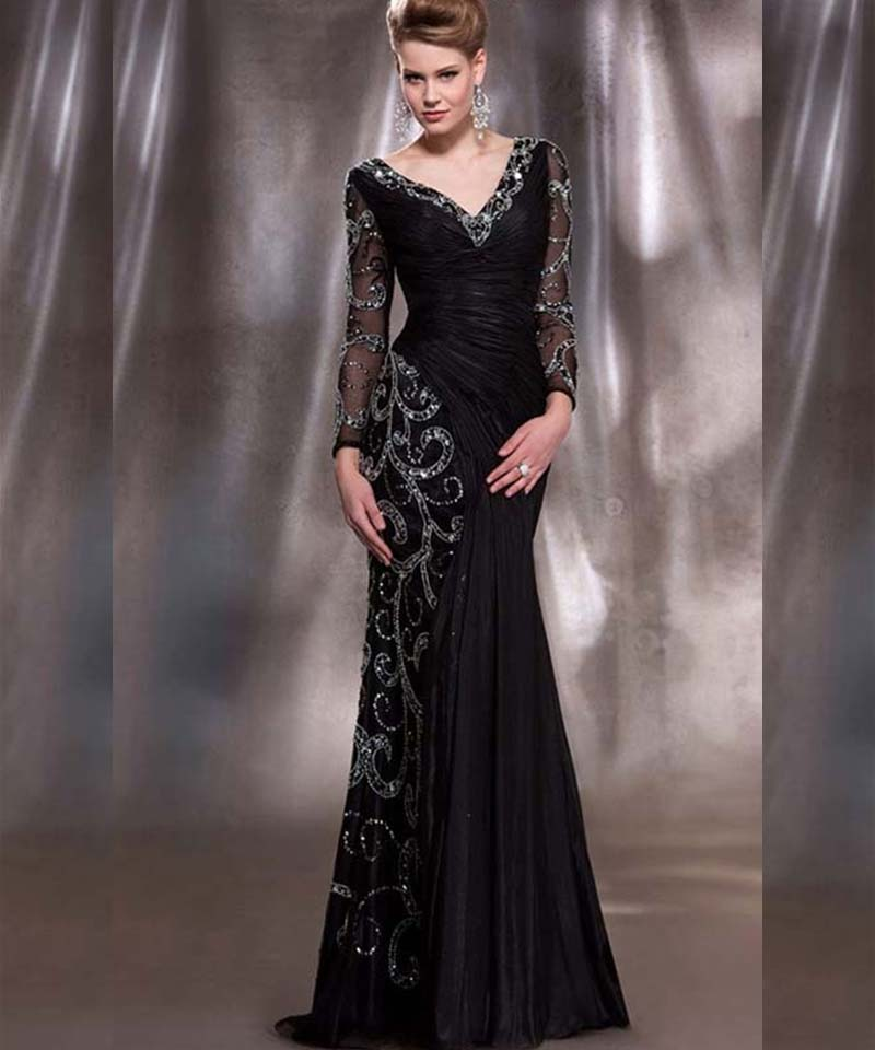 Sexy Long Sleeve Prom Gown V Neck Beaded Sequins Taffeta Black Mermaid Evening Dress For Wedding Party Custom Made