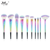 Anmor New Rainbow Copper 10 PCS Brush Set Portable High Quality Make Up Brushes Synthetic Makeup