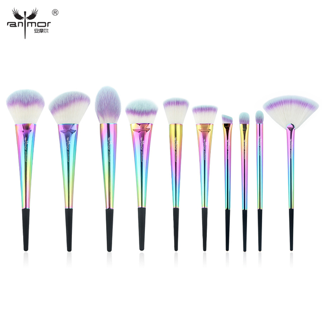 Anmor New Rainbow 10 PCS/SET Makeup Brushes Set High Quality Colorful Make Up Brushes Portable Makeup Tools CF-530