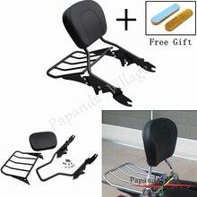 Papanda Black Aluminum Motorcycle Luggage Rack Detachable Passenger Backrest Sissy Bar for Harley Street Glide Road King