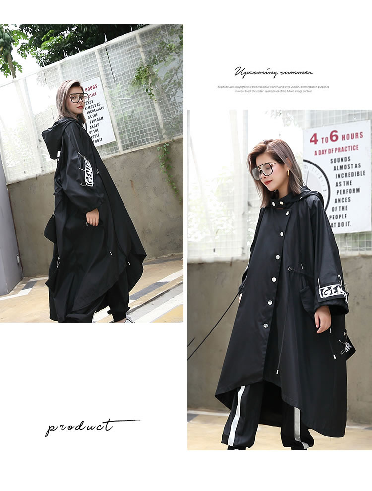 XITAO Spliced Plus Size Black Trench For Women Tide Long Print Streetwear Hoodie Casual Female Wide Waisted Coat 19 ZLL1100 9