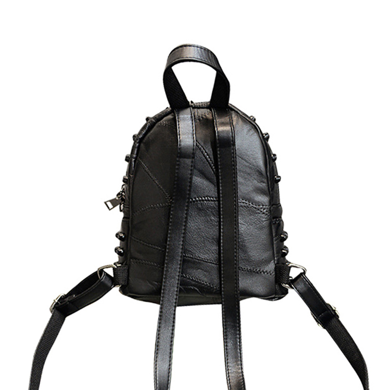 2017 High Quality New Leather Women Backpack Rock Rivet Solid Lady Knapsack Fashion Designer Female Travel School Bag For Youth