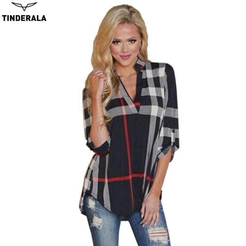 2017 new autumn fashion plus size ladies 3 4 sleeve v neck for Plus size 3 4 sleeve tee shirts