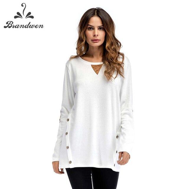7ee4def5e Brandwen Manga Longa Malha Camiseta Mulheres Botões Frontais Longo feminino  T-shirt Túnica Tops Outono