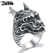 ZABRA 7-13 Solid 925 Silver Cool Domineering Dragon Ring for Men Vintage Steampunk Biker Big Ring Mens Sterling Silver Jewelry