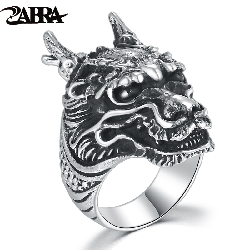 ZABRA Gothic Solid 925 Silver Dragon Ring For Men Vintage Steampunk Biker Big Cool Domineering Ring Mens Sterling Silver Jewelry beier 925 silver sterling jewelry 2015 men s retro domineering ring animal ring super big dragon man ring d1234