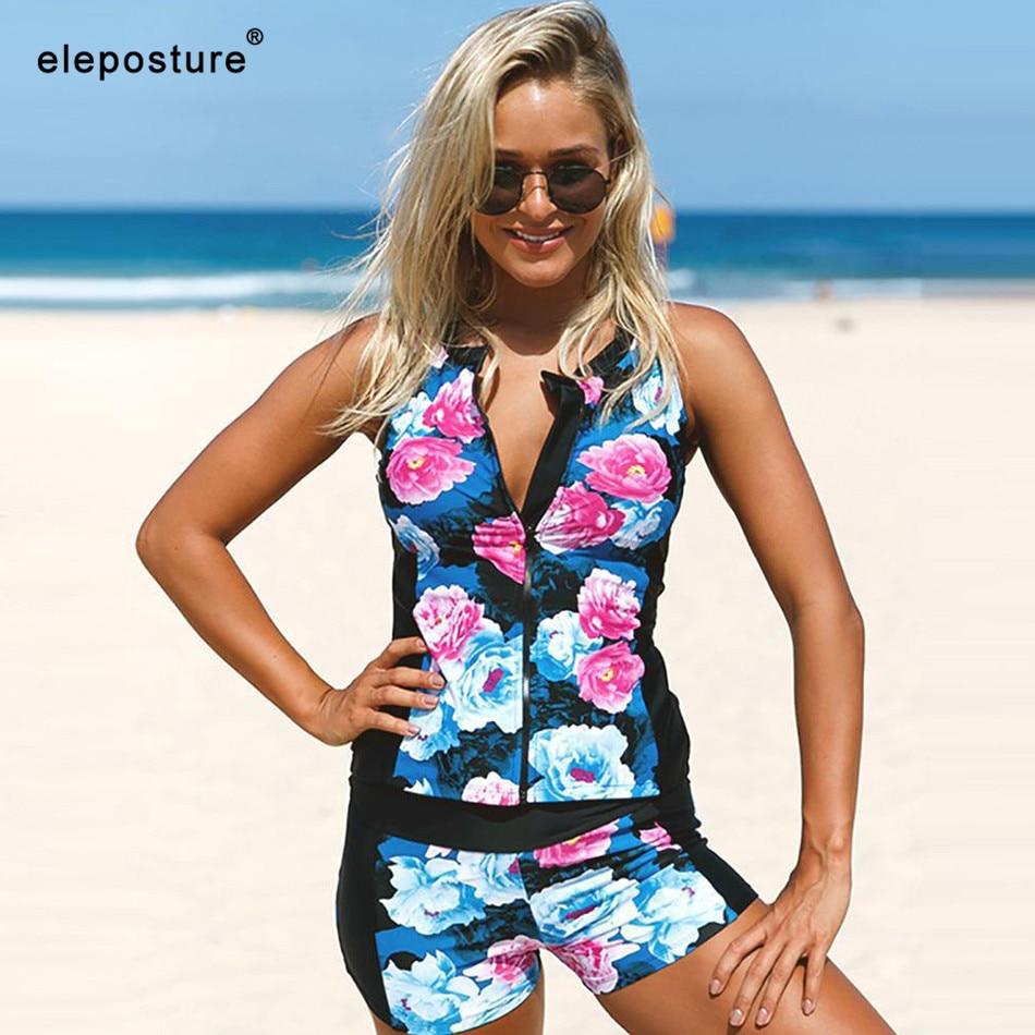 2019 New Tankini Swimsuits Women High Waist Swimsuit Zipper Swimwear Floral Print Bathing Suits Summer Beach Wear Swimming Suit