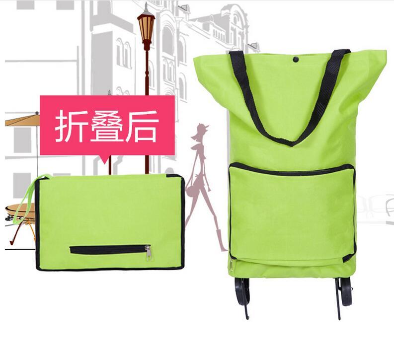 Foldable Supermarket Shopping Trolley Wheel Light Weight Large Capacity Eco-friendly Folding Bag Traval Cart Luggage