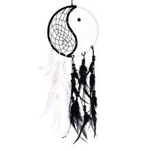 Ручная работа Инь Ян Ловец снов круглая сеть с перьями бусины для стены Подвесные Украшения для автомобиля ОРНАМЕНТ ремесло подарок, черный